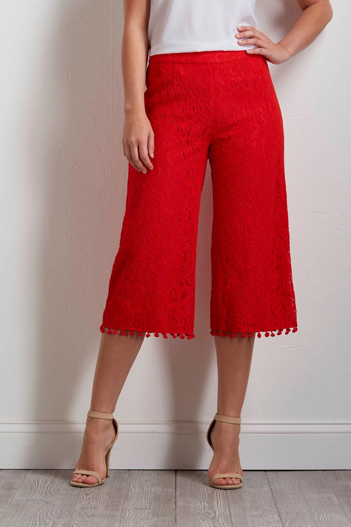 Cropped Lace Wide Leg Pants