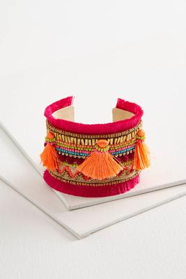 neon tassel embellished cuff