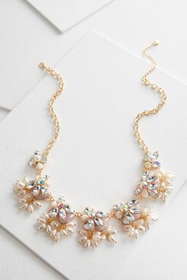 shaky rhinestone pearl bib necklace