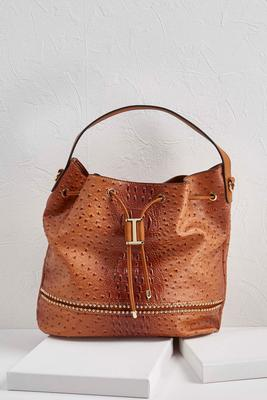 ostrich embellished bucket bag s
