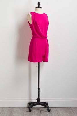 solid pink surplice romper