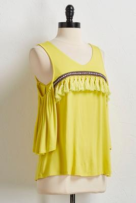 neon tassel bare shoulder top