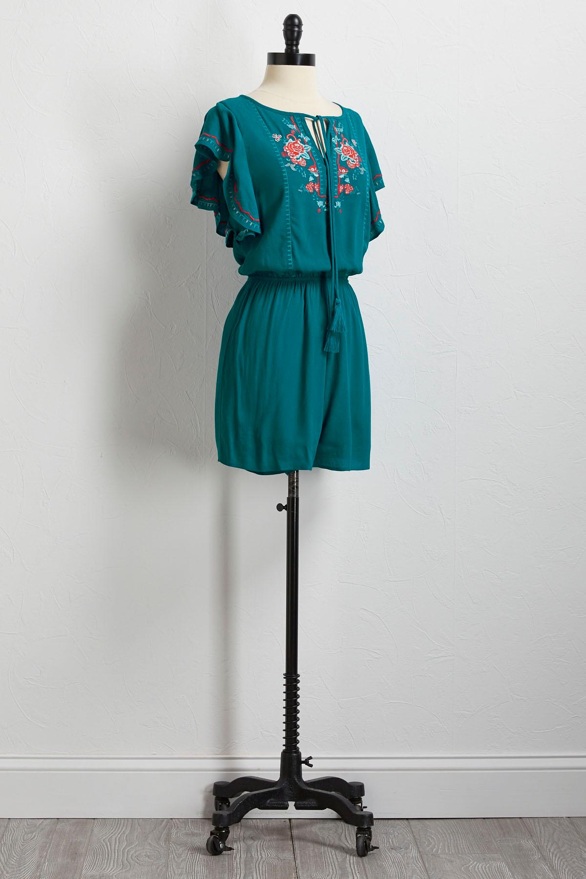 Embroidered Flutter Sleeve Romper