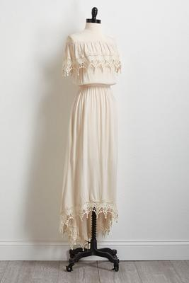 ivory off the shoulder high-low dress
