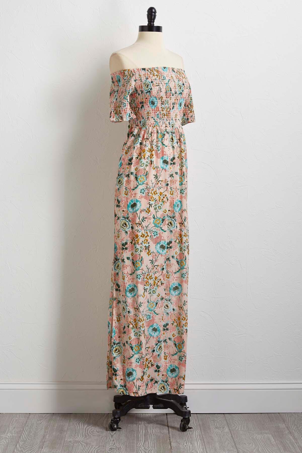 Smocked Off The Shoulder Maxi Dress