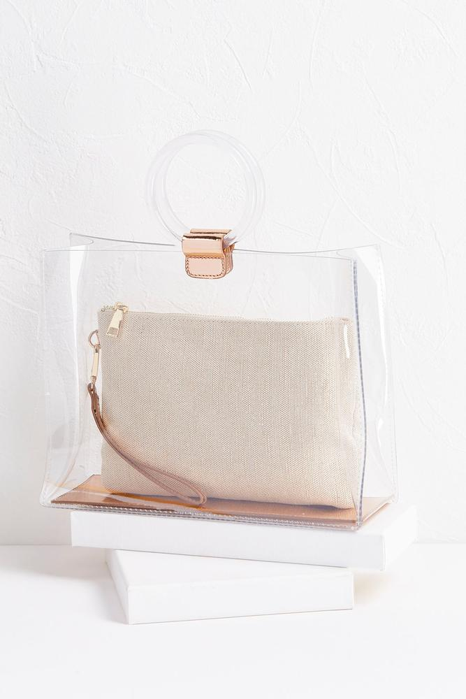 Clear Bag With Raffia Wristlet Set