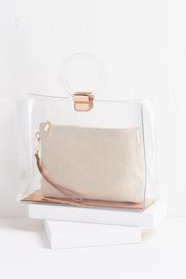 clear bag with raffia wristlet set