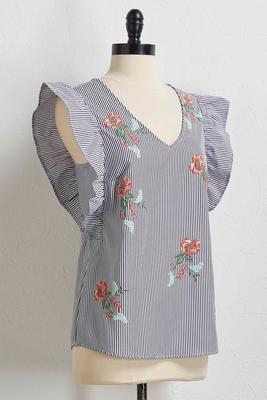 embroidered floral stripe top