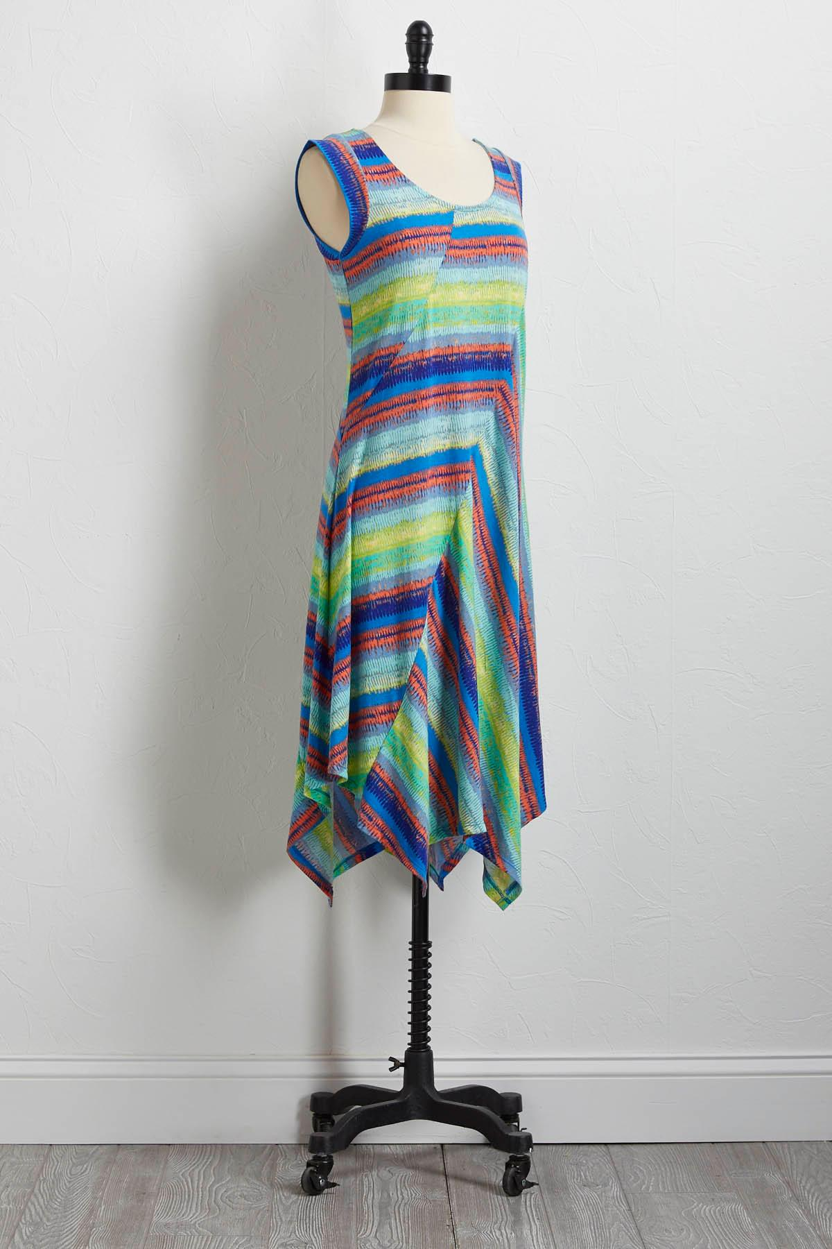 Multicolored Brushed Stripe Dress