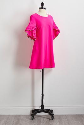 embellished neon pink shift dress