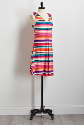 stripe tie shoulder shift dress