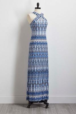 navy ikat maxi dress
