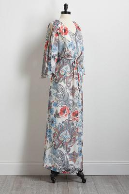 breezy floral tie waist maxi dress
