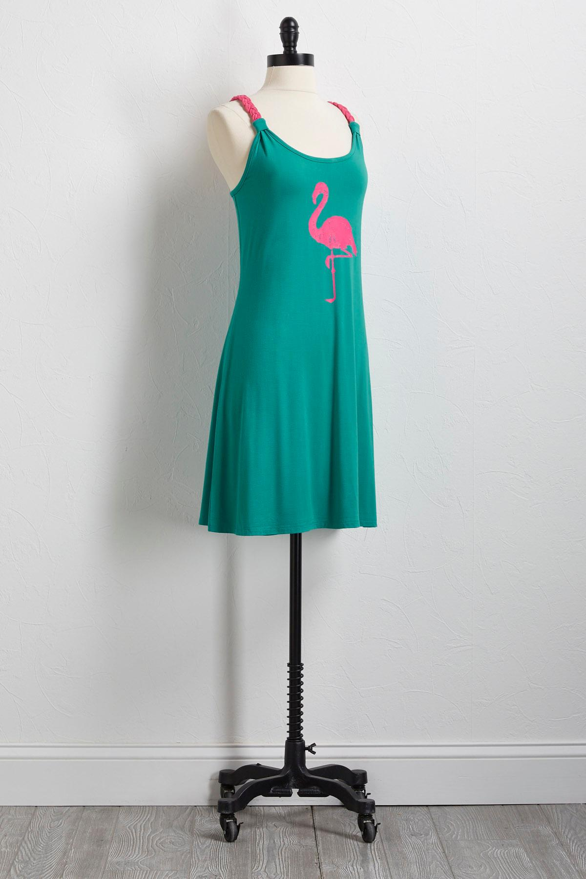 Flamingo Braided Strap Dress