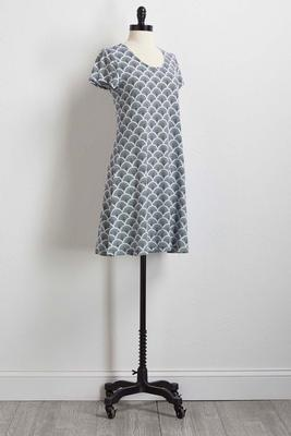 navy and white puff print shift dress