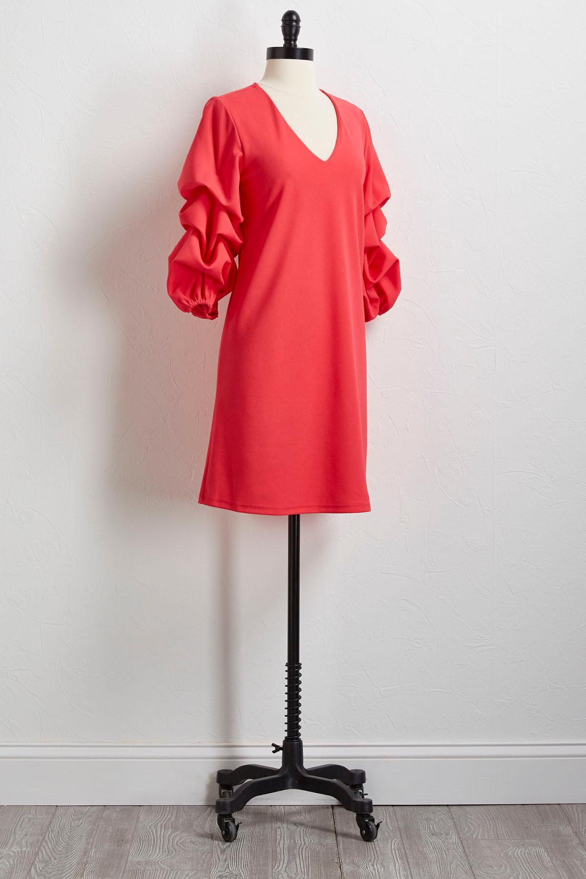 Bubble Ruffled Sleeve Shift Dress
