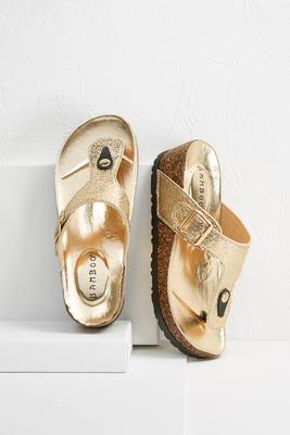 gold glitter wedge flip-flops