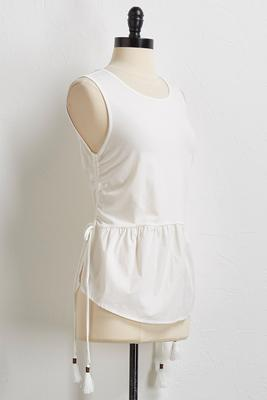 side ruched poplin hem tank
