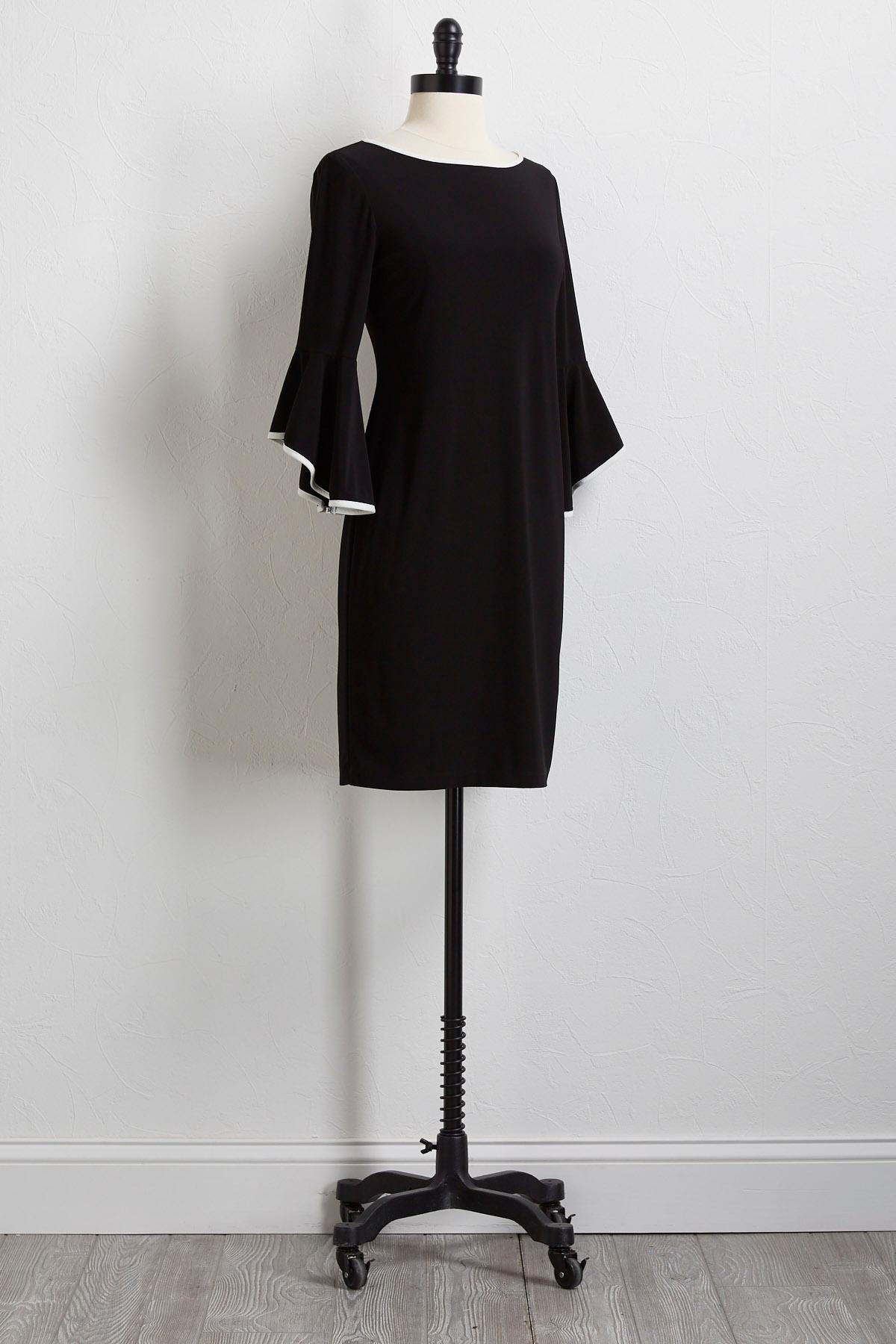 Contrast Bell Sleeve Sheath Dress