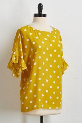 gold polka dot ruffle top