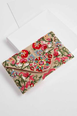 floral embellished envelope clutch