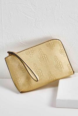 gold cactus wristlet