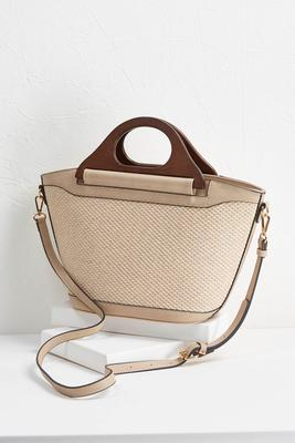 woven wooden handle tote s