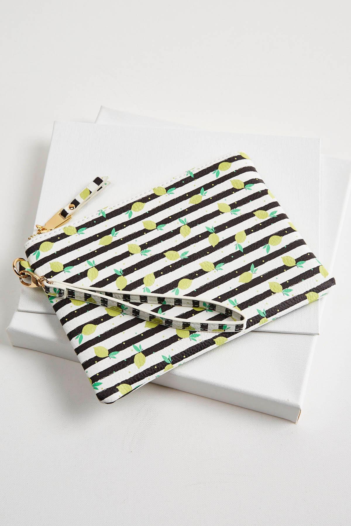 lemon stripe wristlet s