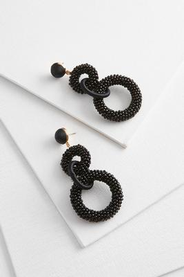 linked seed bead circle earrings