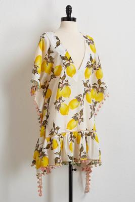 lemon and pom-pom cover-up