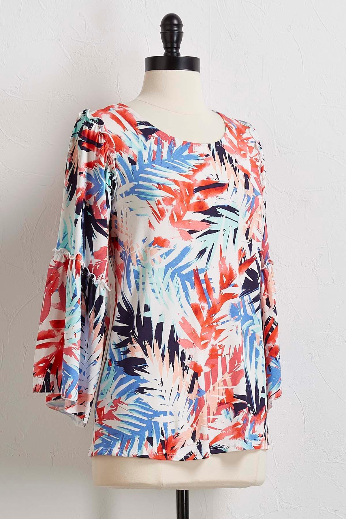 Palm Flutter Sleeve Top