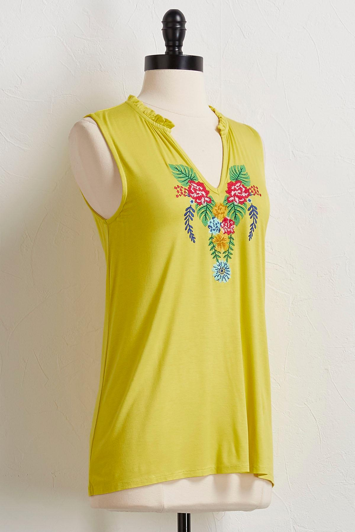Citrus Embroidered Top
