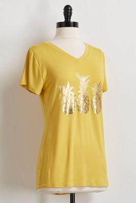 pineapple foiled print tee