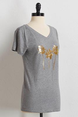 palm foiled print tee