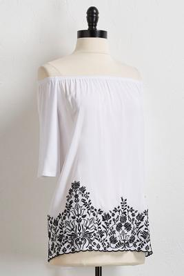 scalloped floral embroidered top