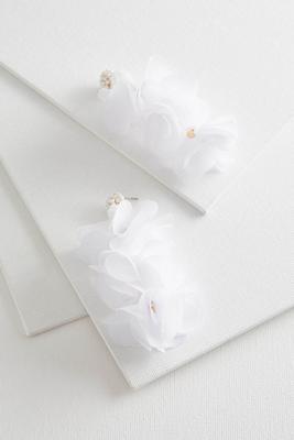 tiered fabric flower earrings