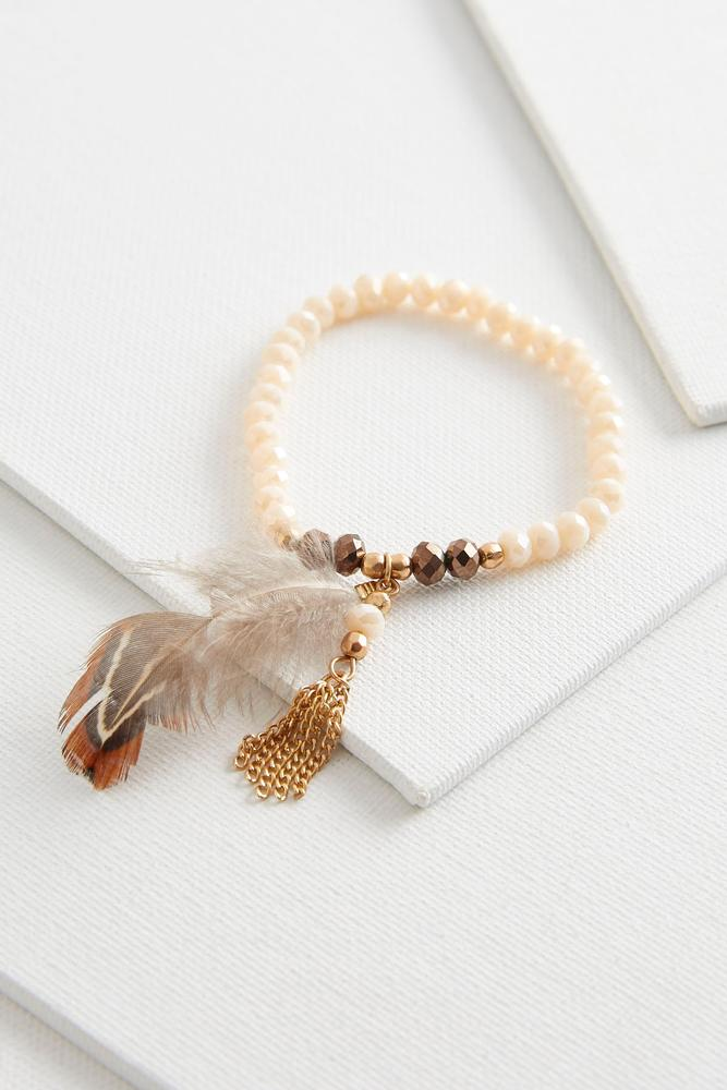 Crystal Bead And Feather Stretch Bracelet