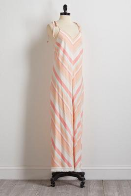 sweet melon diagonal stripe jumpsuit