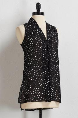 polka dot inverted pleat tank