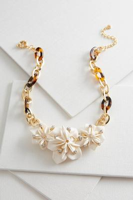 tortoise shell flower bib necklace