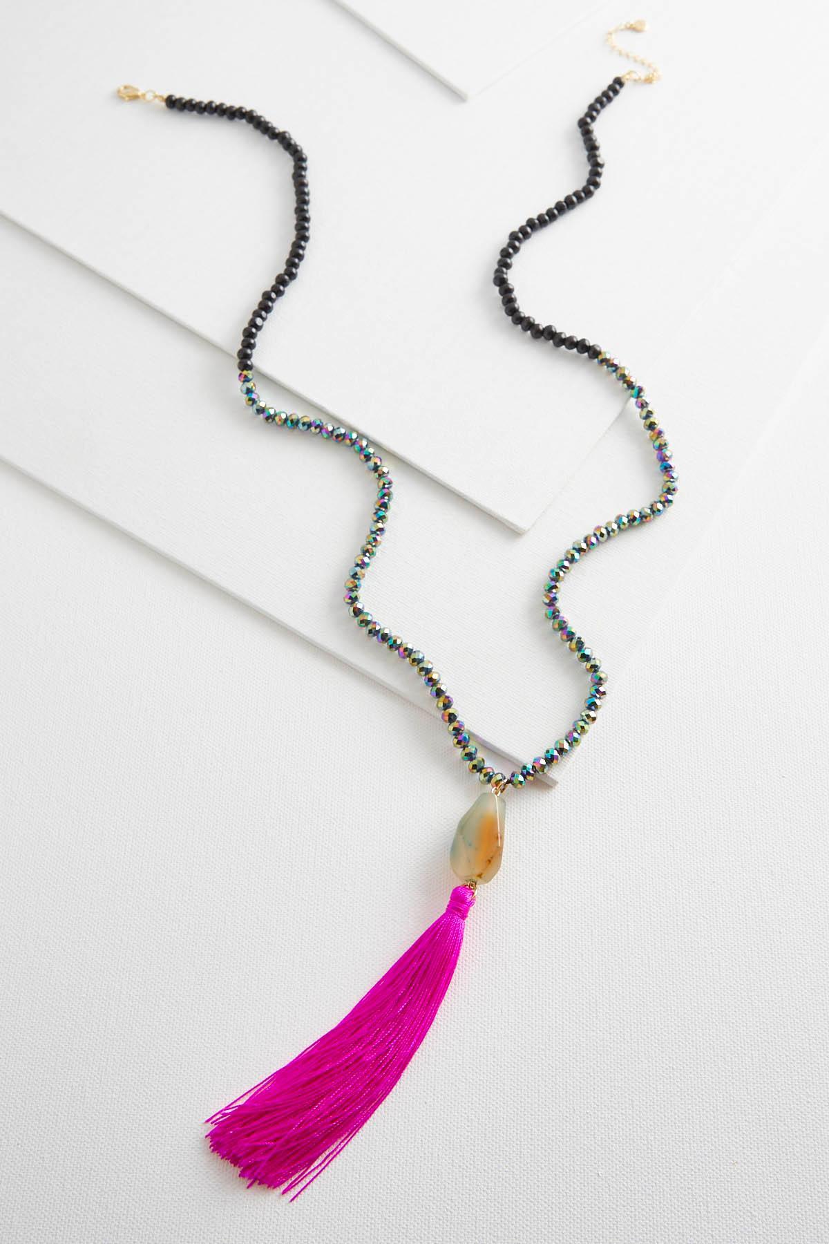 Semi- Precious Pendant Tassel Necklace