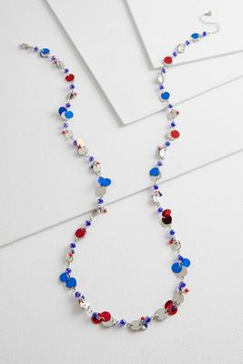 patriotic mixed bead necklace