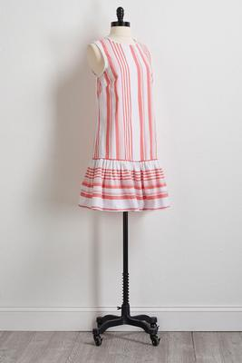 striped pom-pom trim shift dress