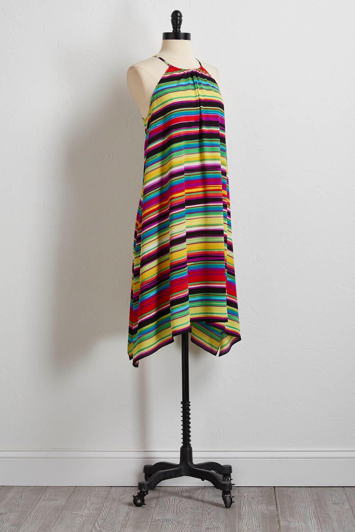 Crepe Multicolor Stripe Shift Dress
