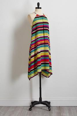 crepe multicolor stripe shift dress