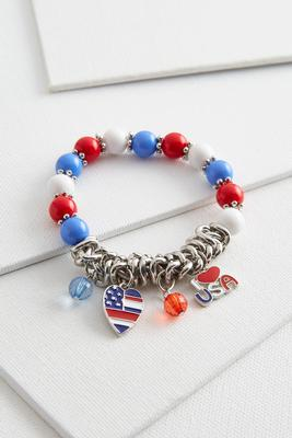 patriotic charm stretch bracelet