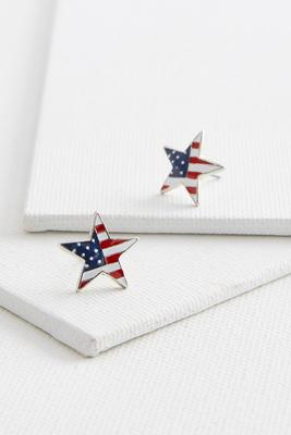 american flag star stud earrings