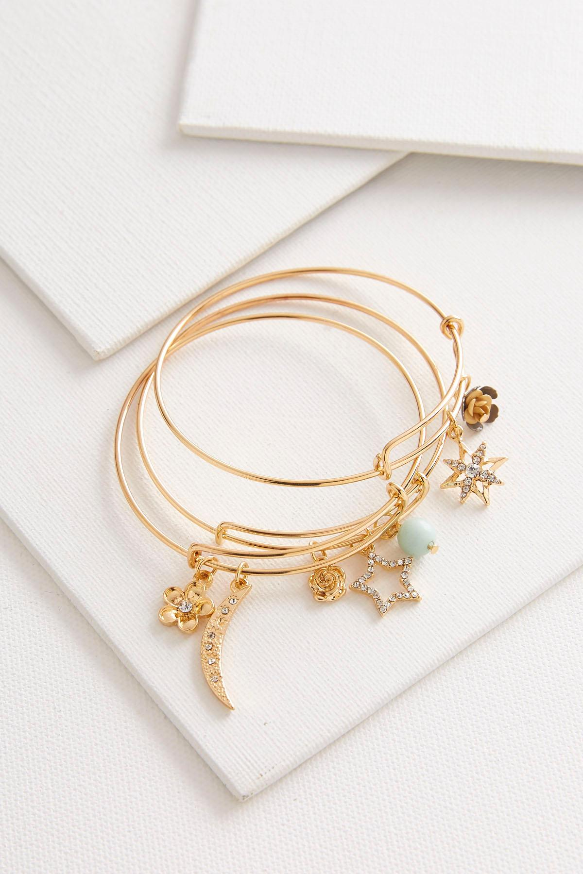 Moon Star Charm Bangle Set
