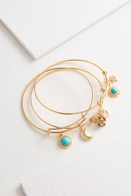 turquoise moon star charm bangle set
