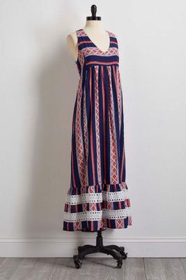 relaxed lace trim maxi dress